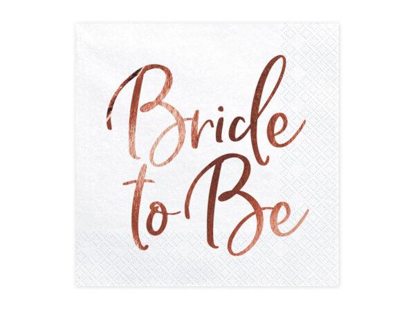 SERWETKI BRIDE TO BE RÓŻOWE ZŁOTO 1