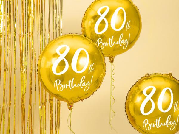 BALON FOLIOWY 80TH BIRTHDAY 45 CM 1