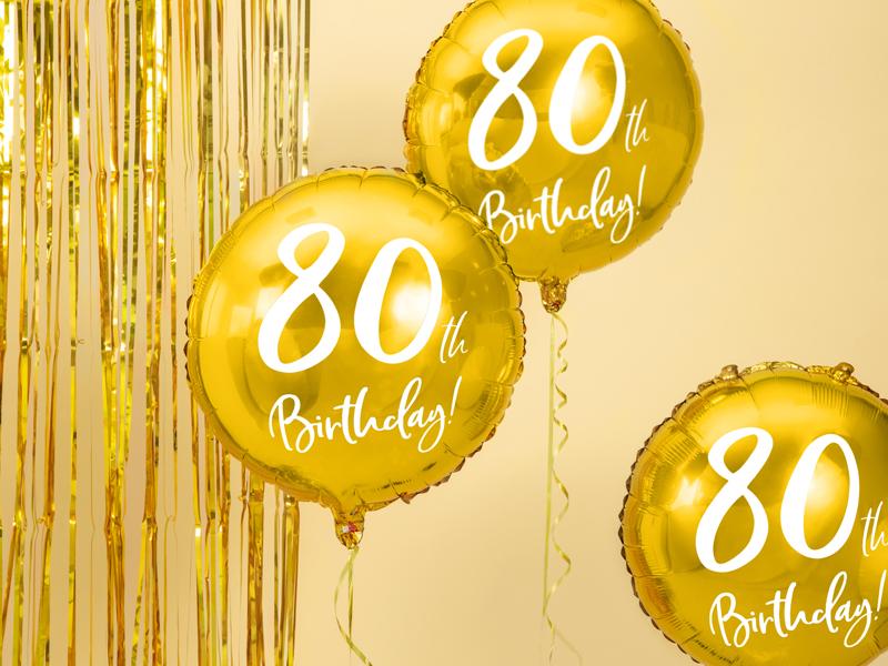 BALON FOLIOWY 80TH BIRTHDAY 45 CM