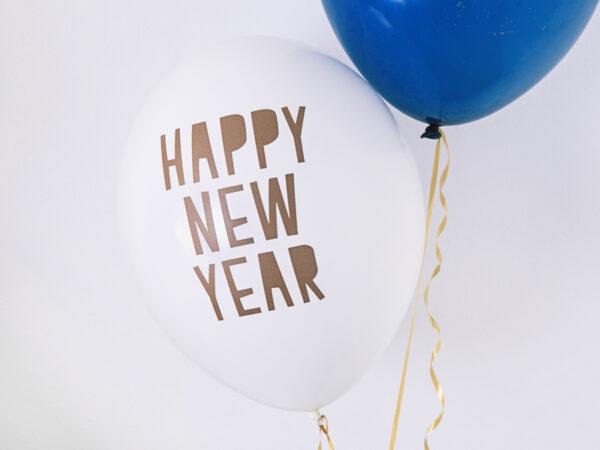 BALON HAPPY NEW YEAR BIAŁY 30 CM 1