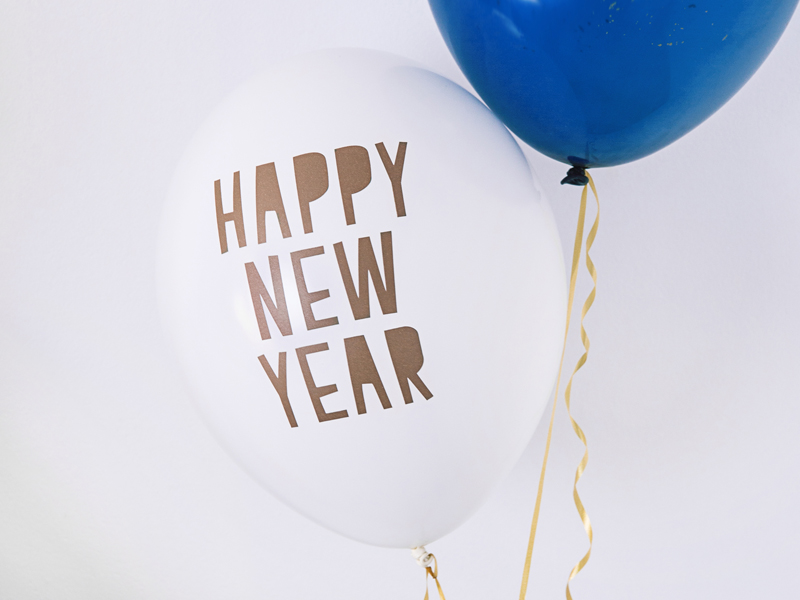 BALON HAPPY NEW YEAR BIAŁY 30 CM