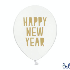 BALON HAPPY NEW YEAR BIAŁY 30 CM