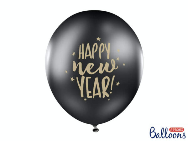 BALON HAPPY NEW YEAR CZARNY 30 CM 1