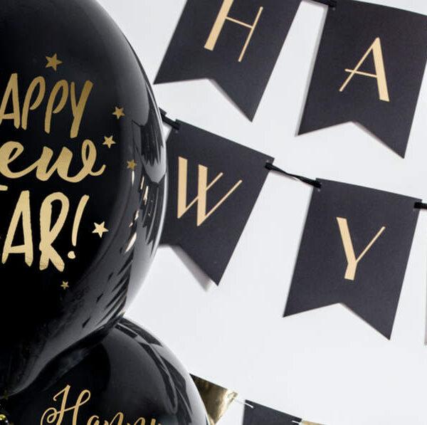 BALON HAPPY NEW YEAR CZARNY 30 CM