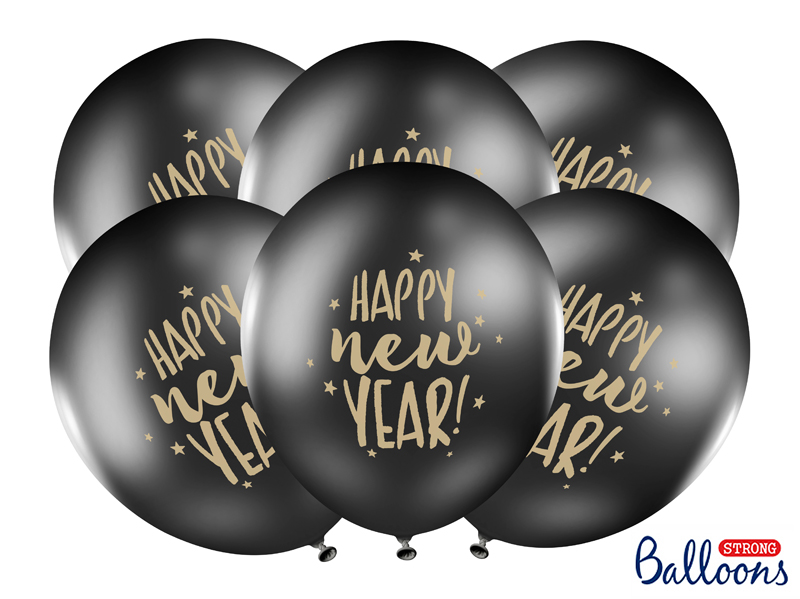 BALON HAPPY NEW YEAR CZARNY 30 CM