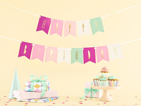 BANER HAPPY BIRTHDAY MIX RÓŻOWY 1