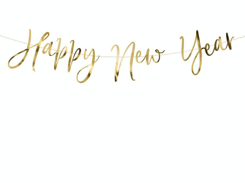 BANER HAPPY NEW YEAR ZŁOTY 66 CM