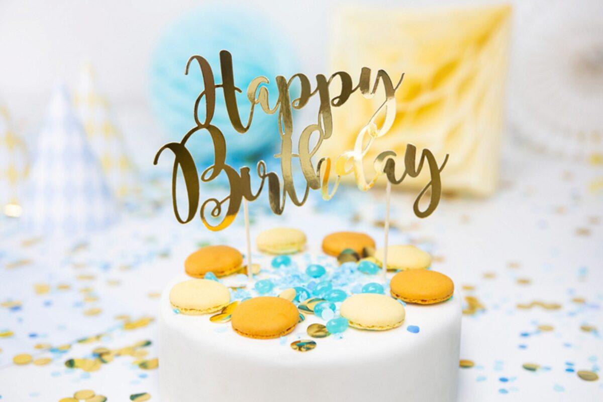 TOPPER NA TORT HAPPY BIRTHDAY ZŁOTY