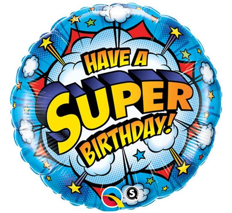 BALON FOLIOWY SUPER BIRTHDAY 46 CM