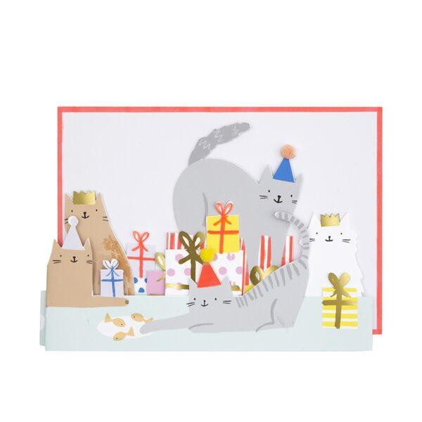 KARTKA 3D KOCIA IMPREZA MERI MERI 1
