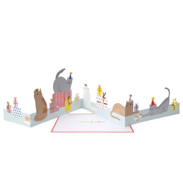 KARTKA 3D KOCIA IMPREZA MERI MERI 2