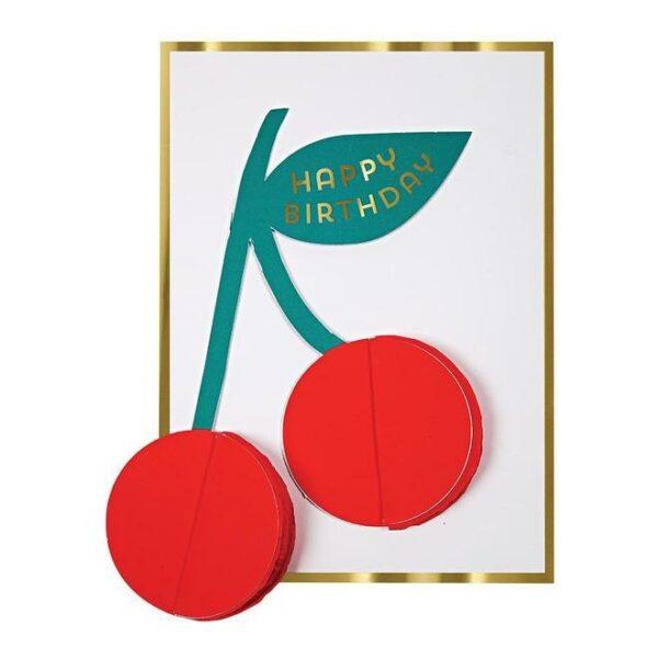 KARTKA URODZINOWA 3D WISIENKI MERI MERI 1