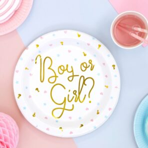 TALERZYKI PAPIEROWE BOY OR GIRL 23 CM