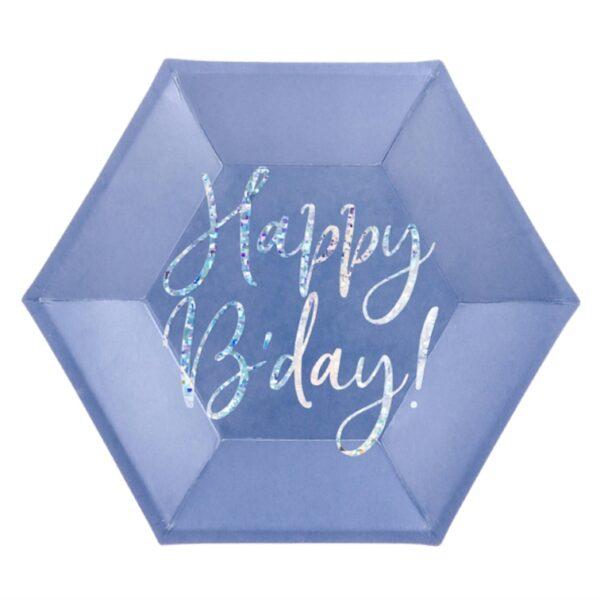 TALERZYKI NIEBIESKIE HAPPY BIRTHDAY