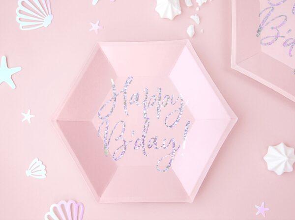 TALERZYKI RÓŻOWE HAPPY BIRTHDAY 1
