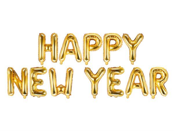BALON ZŁOTY HAPPY NEW YEAR 370X35 CM