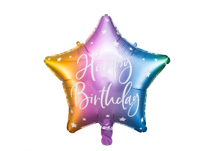 BALON HAPPY BIRTHDAY GWIAZDKA TĘCZOWA 40 CM